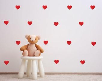 Heart Wall Decal 3.5CM - Wall Sticker Pattern - Nursery Kids Decal - Set of 53+ | PP111
