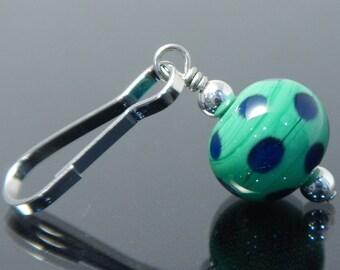Zipper Pull, green, blue, polka dots, zipper pulls for purses, zipper pull charm, beaded zipper pull, decorative pull, artisan made