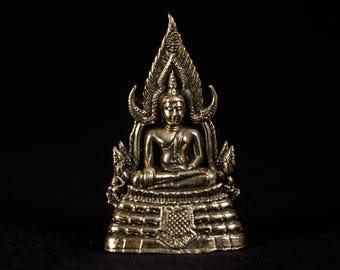 "Seated Brass Thai Sukhothai Enlightenment Buddha Statue - 7cm(2.5"") Tall"