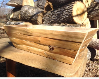 Log Flower Box, Cedar Planter, Wood Planter Box,  Rustic Planter Box, Flower Box,