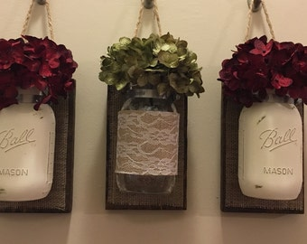 Set of 3 Rustic Mason jar hanging decor, wall decor, hanging decor, rustic decor, Mason jar decor, painted Mason jars, Mason jar decor,
