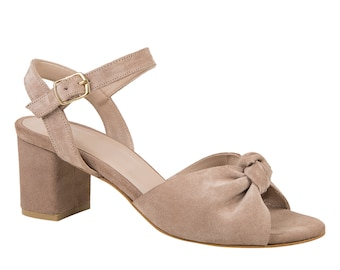 Suede Sandals with Bow, Customized Handmade Women Shoes