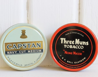 Vintage TOBACCO TINS Capstan & Three Nuns, Mid Century Decor, Tobacciana