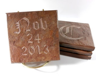 Personalized Coasters - Monogram and Date - 4 Custom Carved Slate Stone Coasters - Save the Date Anniversary Groomsmen Wedding Gift Coasters