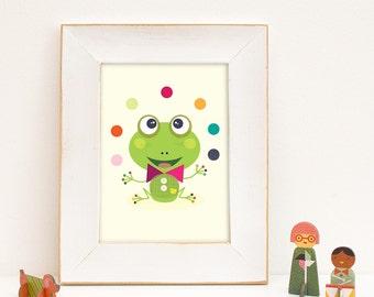 Grenouille verte, décoration murale, chambre enfants, affiche, tableau, déco, chambre bébé, illustration, animal, décor enfants, poster