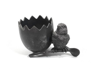 Antique Silver Toothpick Holder with Chick and Egg Design, Quadruple Silverplate Bird on Wishbone by Barbour Silver