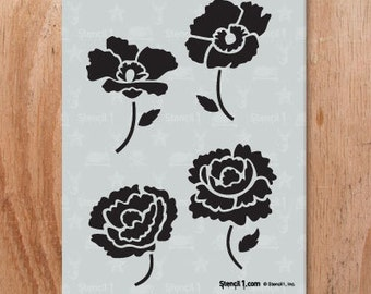 Peonies and Poppies Stencil- Reusable Craft & DIY Stencils- S1_01_143 -8.5x11- By Stencil1