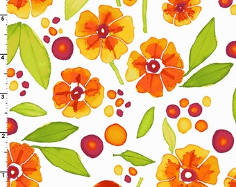 Wild By Nature - Per Yd - Maywood Studio - Kathy Deggendorfer - Marigold and Poppies on White
