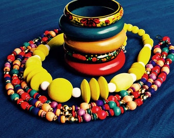 Vintage Retro 80's 7-Piece Fiesta Party Colorful Wood Necklaces and Bangles Lot Yellow/Teal/Red/Orange/Purple