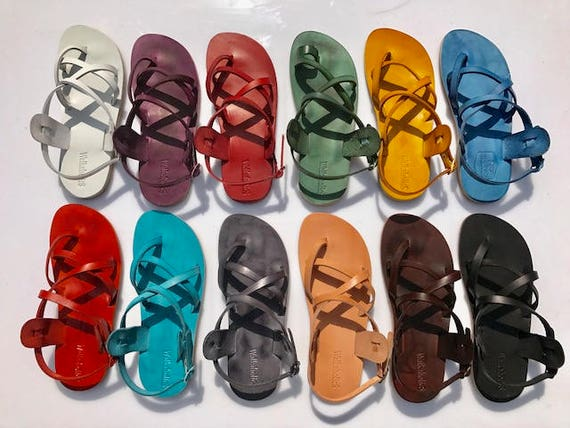 Blue Leather Sandals Flip Sandals Sandals Flops amp; Women Flats Blue Unisex Sandals Leather Leather Men Handmade Rainbow For Leather ZrnwxS7zZR
