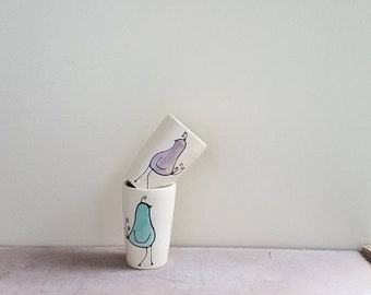 Mini bird vase, a pair of small purple and blue bird vases, stocking stuffer