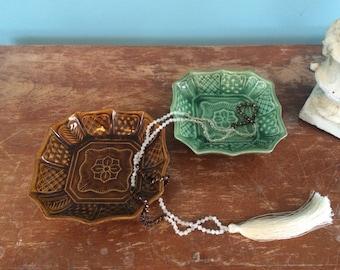 Vintage Japanese Ceramic Dishes/ Catchalls, Set of 2