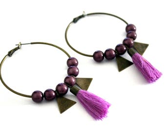Large hoop earrings purple with Pompom and sequin triangle-vintage retro brass