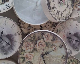 Vintage clock shabby distressed box favors Wedding bombonieres ideas Ivory keepsake box for guests Greek handmade wedding guests gifts 24 p
