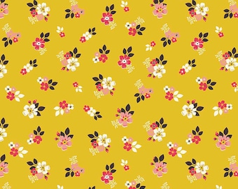 SALE Vintage Daydream Floral Gold by Riley Blake Designs - Yellow Flowers - Quilting Cotton Fabric - choose your cut