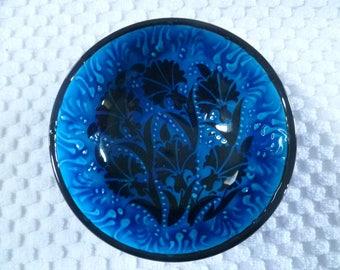 "Blue Ceramic Bowl, Turkish ceramic, 5"" bowl, floral design, sapphire, small bowl, desert bowl, nut bowl, trinket bowl, birthday gift"