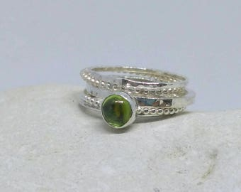 Peridot sterling silver stacker set