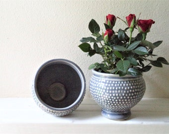 Grey hobnail mini planter vase, small ceramic planter, grey home accent, small succulent planters, cottage chic