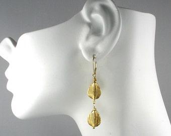 Double Teardrop Gold Vermeil Dangle Earrings