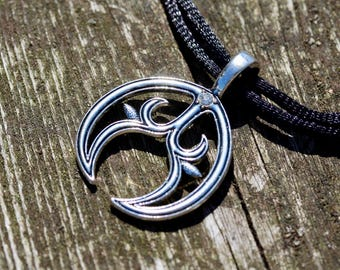 Large Antique Silver Lunula Crescent Moon Pendant With Clear Rhinestone - Adjustable Black Choker Necklace - Talisman - Wiccan - Pagan