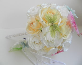 Bridal Butterfly Bouquet and boutonniere - Flower Bouquet Gift, Bridal Bouquets, Bridesmaids Bouquets, Alternative Bouquet, Wedding flowers