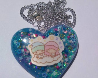 Resin Little Twin Stars Sanrio Inspired Puffy Heart Necklace Sanrio Resin Necklace