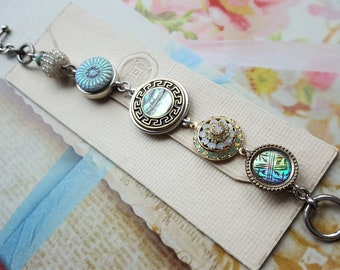 Antique Button Bracelet Charm Style, striking Silver, Aqua and Crystal Button Bracelet Toggle, vintage upcycled Jewelry veryDonna