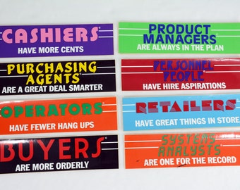 NOS 1980's Pun Bumper Stickers - Retail, Operator, Manager, Cashier, Systems Analyst, Buyer, Purchasing, Agent, Personnel, Store Clerk