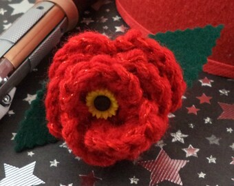 Amy Pond - Crocheted Rose Ponytail Holder or Bracelet - Sparkly Red with Sunflower Embellishment (SWG-HP-DWAP02)