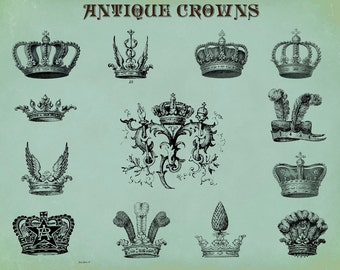 Crowns Collage Sheet, Crowns with feathers, twelve crowns in all, Journaling, INSTANT DOWNLOAD