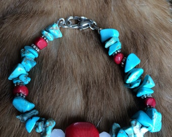 Turquoise and Coral Bohemian Bracelet - Silver Plate - OOAK