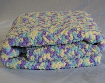 Crocheted Baby Blanket - Pale Yellow/Blue/Purple
