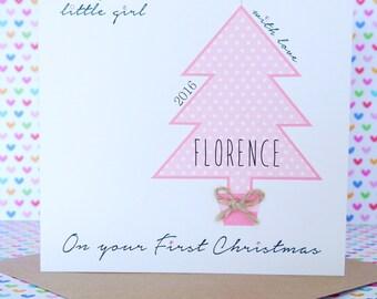 Beautiful Personalised Handmade Girl First 1st Christmas Card