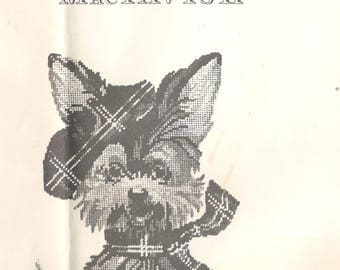 1970s Jean McIntosh M-38 MacTavish SCOTTY DOG Needlepoint Pattern Chart Only Vintage Puppy in Tam and Scarf Animal Pattern