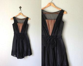 Vintage COCKTAIL Dress • 1960s Clothing• Sleeveless Black Boudoir Ruffle Mod Short Mini Satin Sheer See Thru Peekaboo Bodice •Women Small