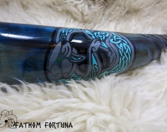 9.5oz Teal Otter Ferret Glitter Carved Drinking Horn with Leather Holster