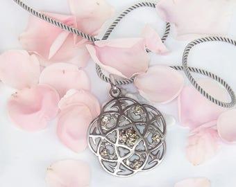 Oringo Rose Pendant Insipired by Medieval Cathedral Architecture Sterling Silver Swarovski Misty Rose Topaz