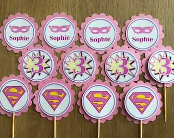 Girl SuperHero ~ Super Hero / Super Girl ~ Superhero Personalised Cupcake Toppers ~ for Superhero Birthday Party, Baby Shower