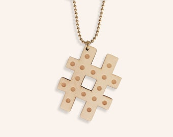 Lasercut hashtag necklace