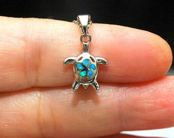 Tiny Silver Turtle Pendant Opal Necklace, Lab Opal Plumeria Pendant Necklace, Blue Opal October Birthstone Necklace, gifts for her