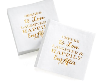 50+  Cheers to Love, Laughter and Happily Ever After Napkins Wedding Napkins Cocktail Napkins Beverage Napkins Cake Napkins White