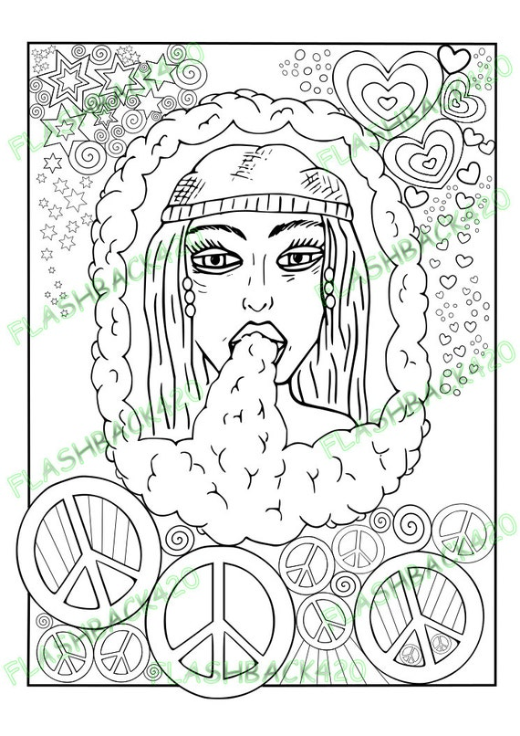 Hippie Ausmalbild für Erwachsene Kiffer Geschenkidee