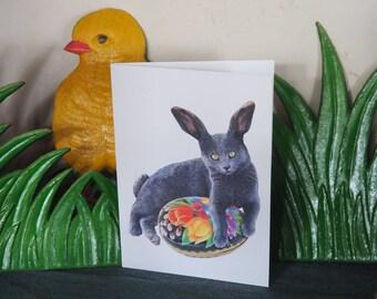 Bunny Cat with Vintage Paper Easter Egg Printable Card, Digital Cat Easter Card