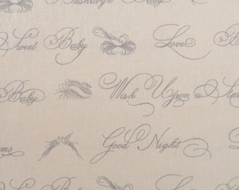 custom bandana bib ~ ivory/gray script ~ drool bib ~ chic couture ~ baby accessories ~ custom made bandana bib from lillybelle designs