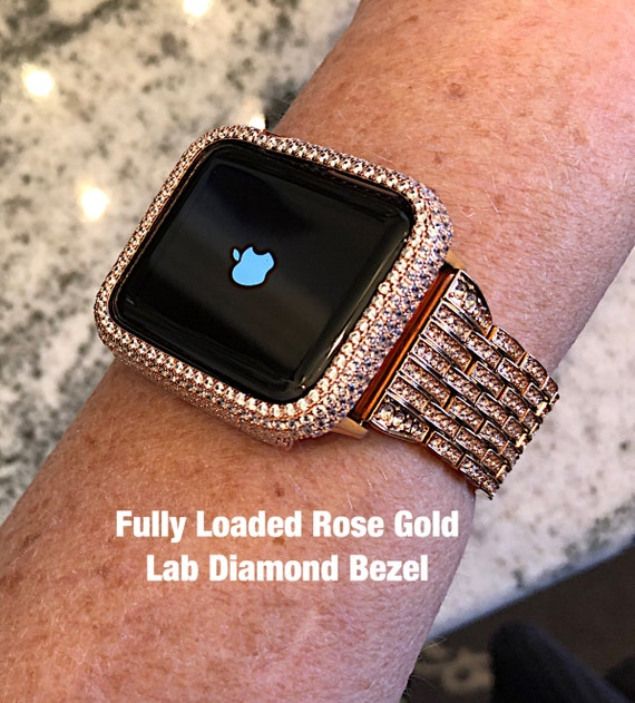Fully Loaded Lab Diamond Rose Gold Apple Watch Bezel Cover in
