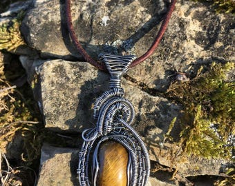 Persephone pendant ~ Tiger eye Silver Filled Pendant · Handmade with love **