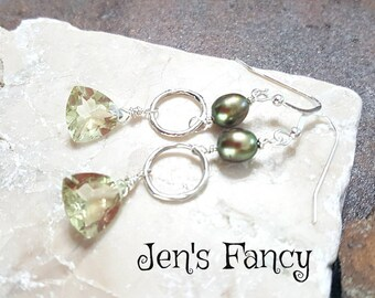 Lemon Quartz Gemstone Earrings with Green Freshwater Pearls Sterling Wire Wrapped Natural Gemstone Jewelry Gift for Her Gift for Mom Yellow