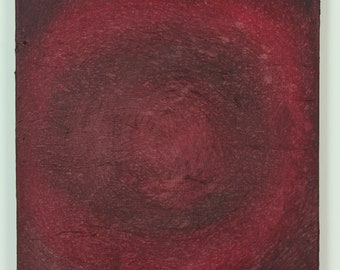 12 x 12 inch abstract acrylic painting, red, maroon, circles