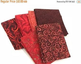 25% Off Sale Red Fat Quarter Bundle - Set of 6