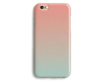 Coral Mint Green Ombre Phone Case iPhone X 8 7 6s 6 Tough 6s Plus 5 5s SE Samsung Galaxy S6 S7 Edge Gradient Cell Trendy Cute Modern Fashion